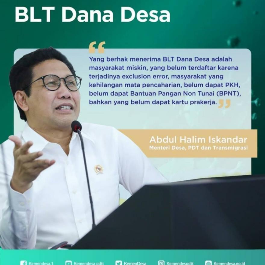 Pemerintah melalui Kementerian Desa PDTT memprioritaskan Dana Desa digunakan untuk BLT