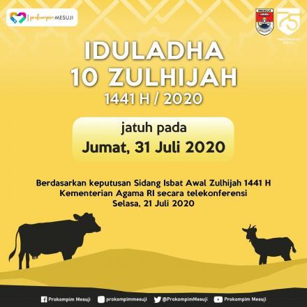 Iduladha 10 Zulhijah 1441 H jatuh pada Jumat, 31 Juli 2020