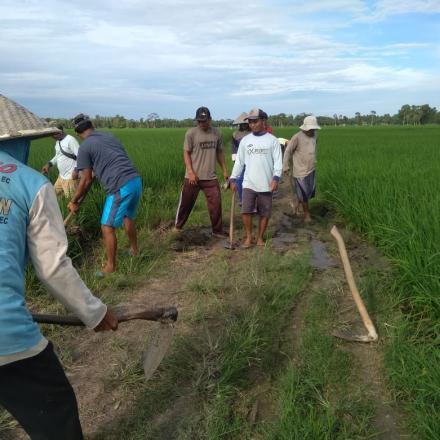 Warga Sidang Bandar Anom Gotong Royong Perbaiki Jalan Usaha Tani